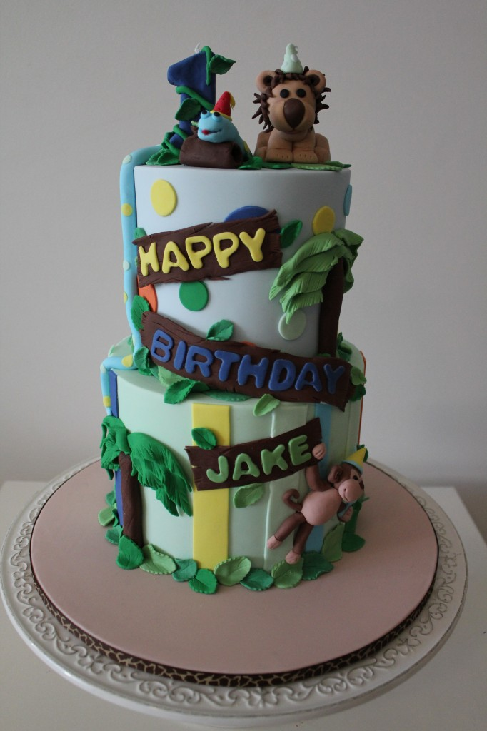 2 Tier Jungle Animal Cake