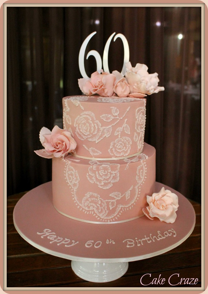 2 Tier Brush Embroidered 60th Cake
