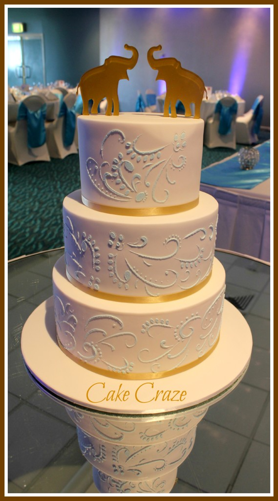 3 Tier Paisley Stenciled Wedding Cake