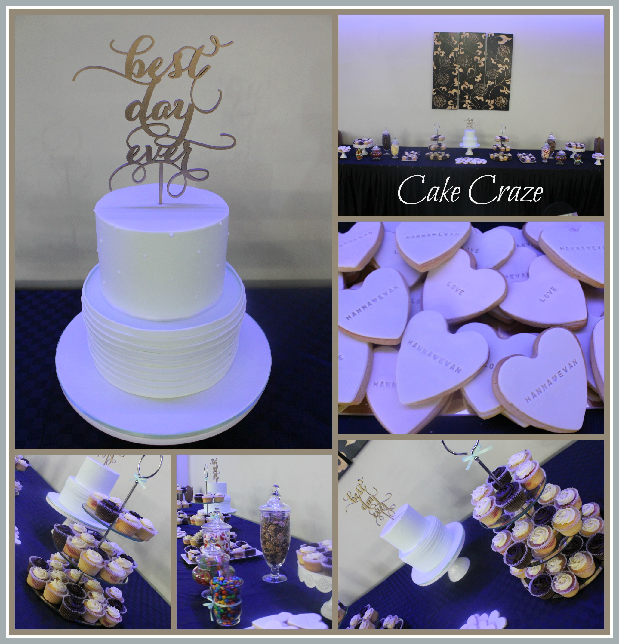 2 Tier Pleated & Piped Wedding Cake & Dessert Table