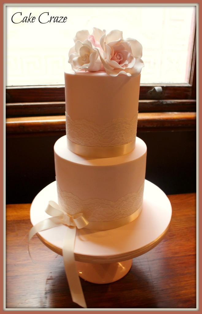2 Tier extended height Wedding cake w/ Roses