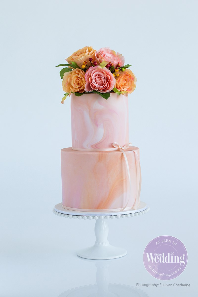 2 Tier Marbled Peach (Extended height tiers)