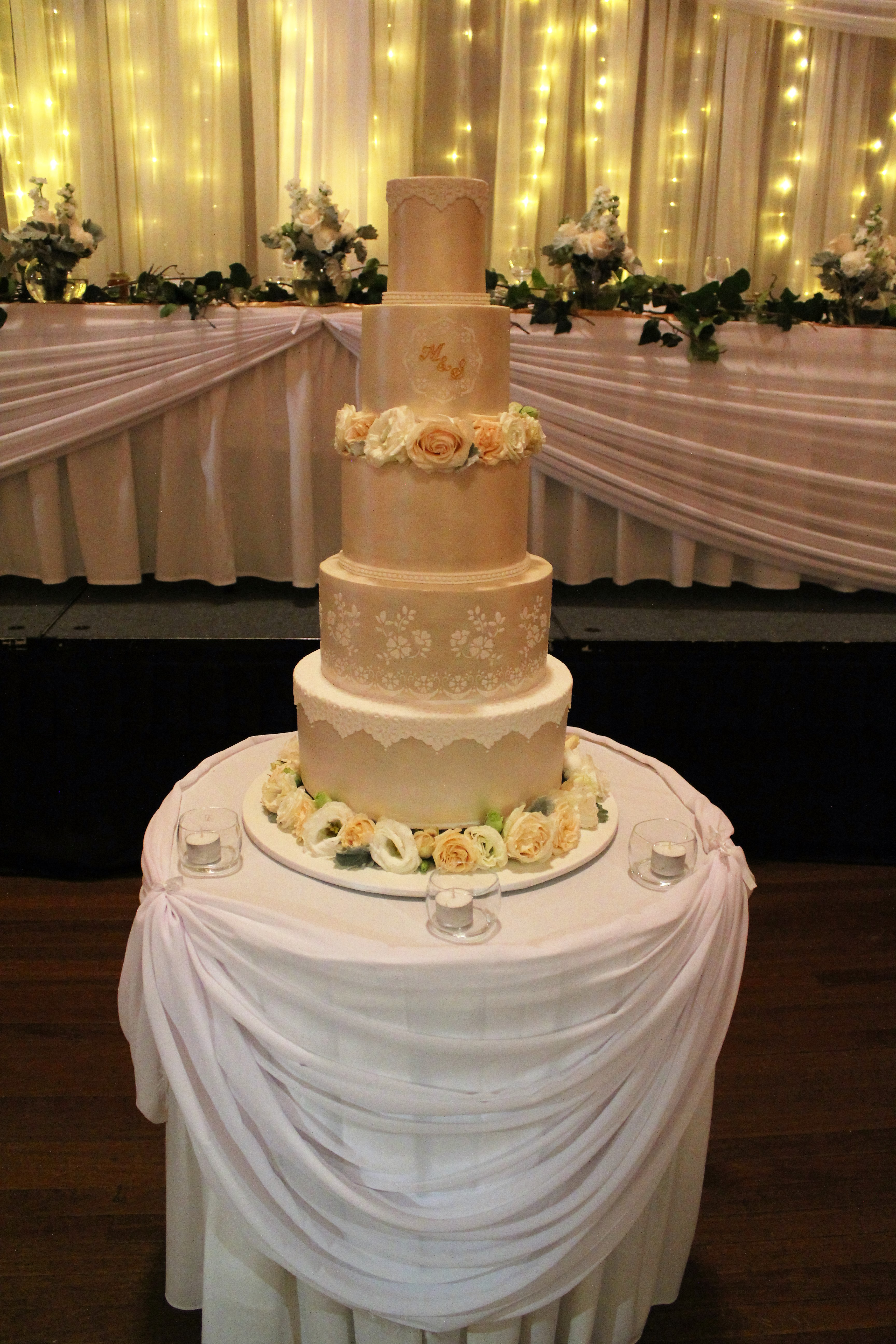 5 Tier Lustre & Stenciled Wedding Cake