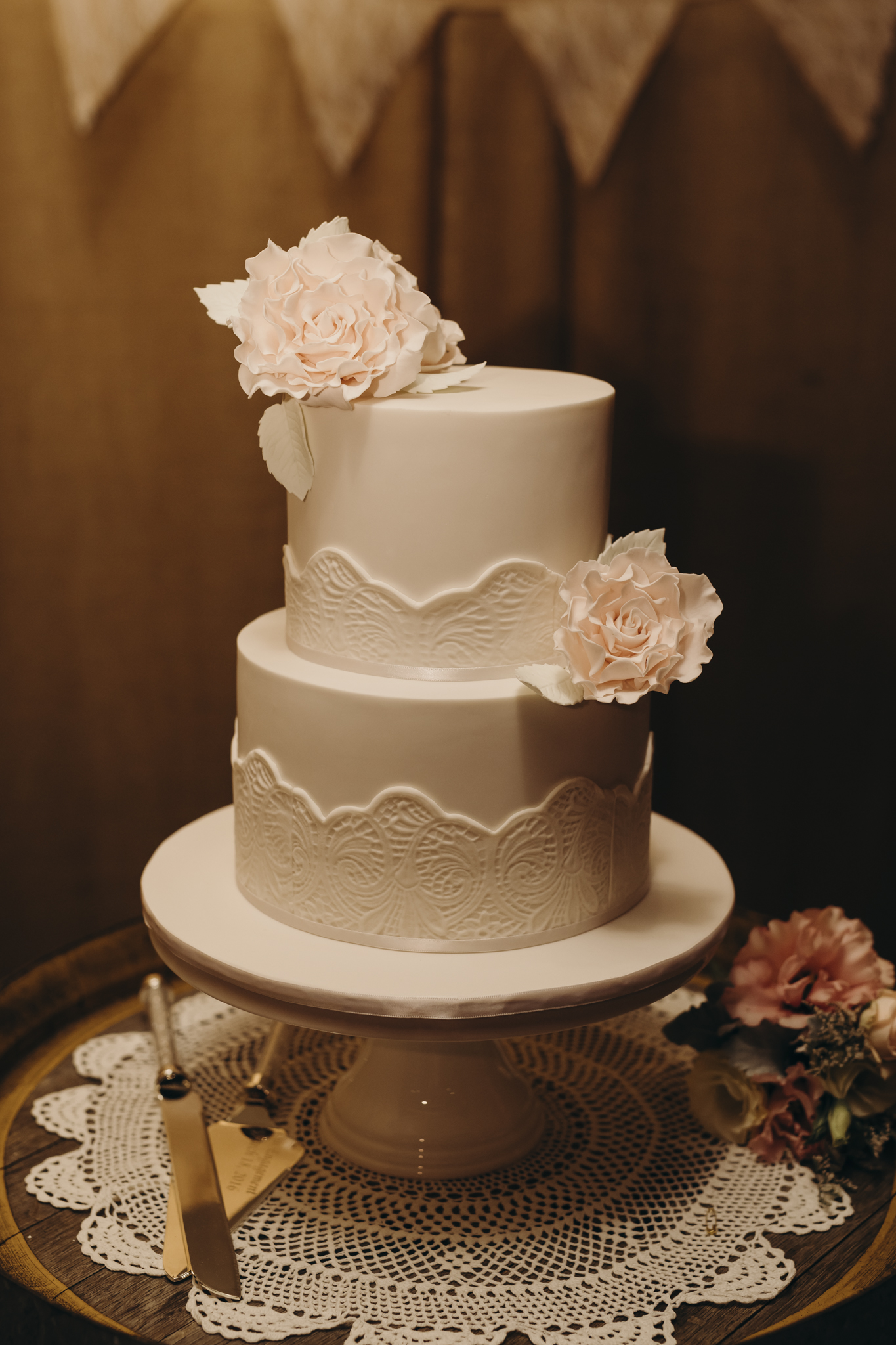 2 Tier White Lace & Sugar Flowers