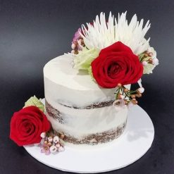 semi-naked floral cake