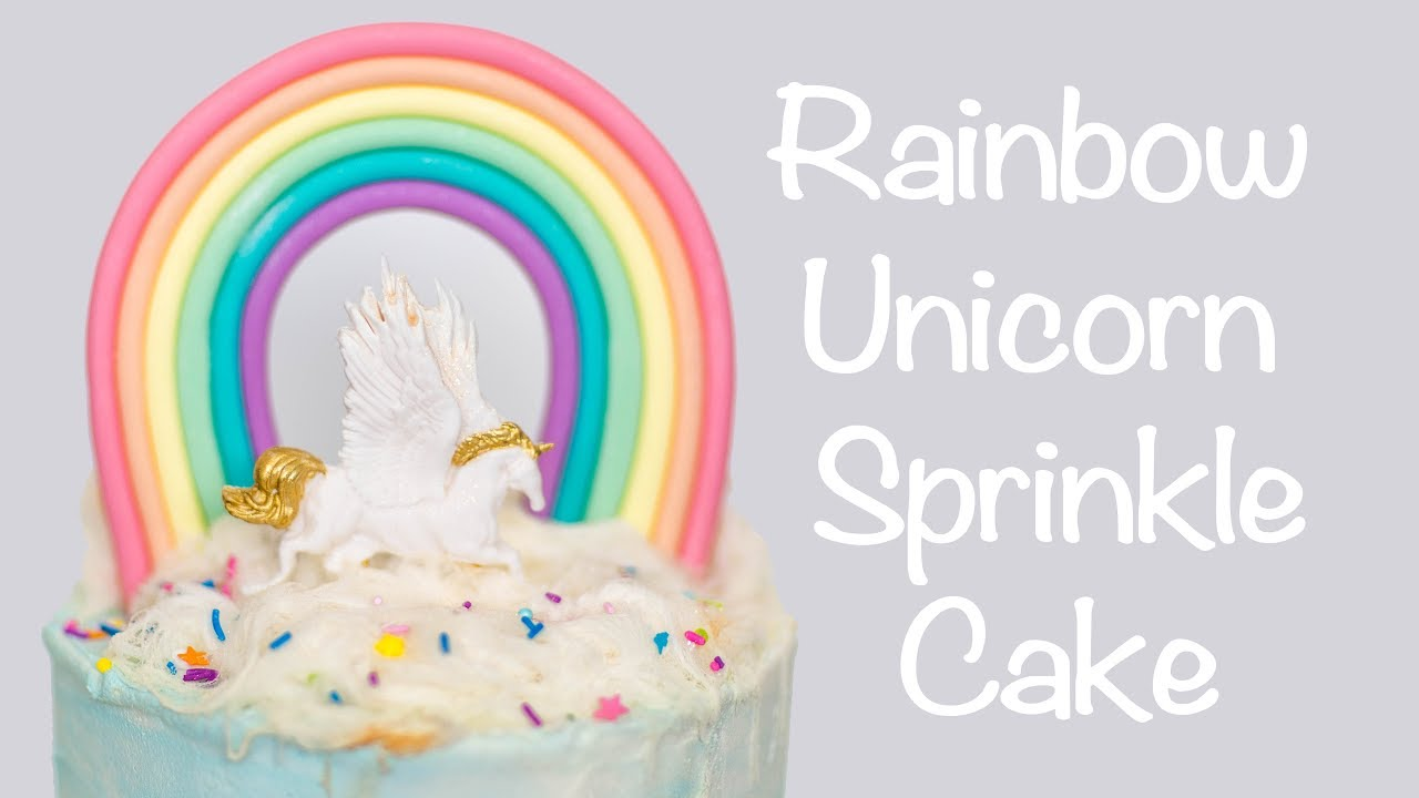 How To Make a Rainbow Unicorn Sprinkle Cake – Cake Craze